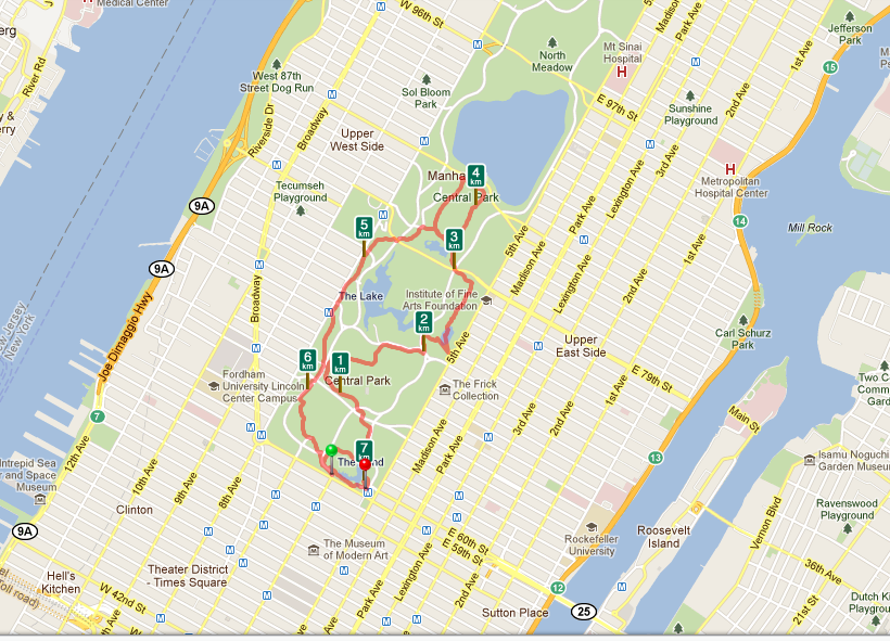 Jogging im Central Park Route